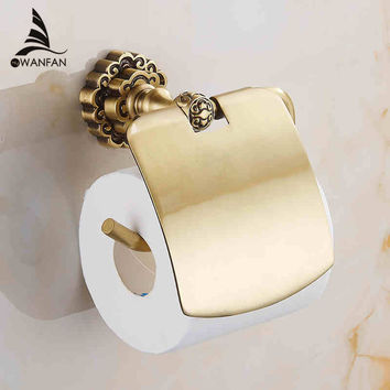 Bathroom Toilet Paper Holder W/ Cover Antique Brass Roll Tissue Rack Carved Pattern Base Paper Shelf Wall Mounted 10708F