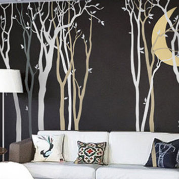 Large tree, moon and birds wall decal