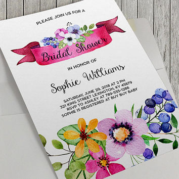 Printable Bridal Shower Invitation, Floral Bridal Shower, 5x7 In, Flower Bridal Shower, Watercolor Flowers, Spring Flowers, Spring Wedding