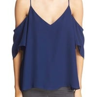 Haute Hippie Embellished Cold Shoulder Silk Blouse | Nordstrom