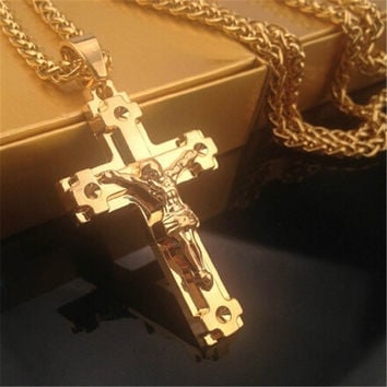 Mens Gold Cross Pendant Necklace