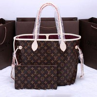 LV Women Shopping Leather Tote Handbag Shoulder Bag G