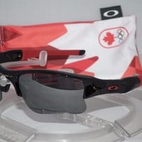 *OAKLEY CANADA OLYMPICS FLAK JACKET XLJ Sunglasses 24-406 POLISHED BLACK IRIDIUM