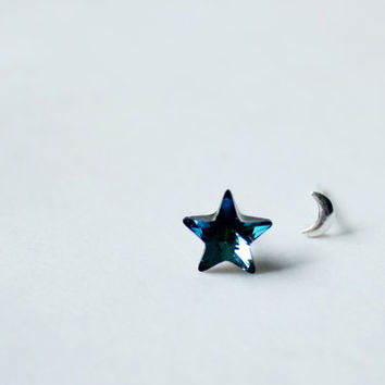 Constellation earring- ocean blue Swarovski Crystal star stud earring-tiny sterling sliver  crescent moon stud earring-star and moon studs