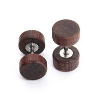 3 Pair Handmade Round Wood Earring Stud Stainless Steel Bar Double Side Barbell Earrings for Women & Men Fashion Earrings F3712