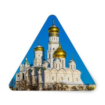 Moscow Kremlin cathedrals Triangle Sticker