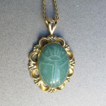 Vintage Carved Green Adventurine SCARAB Gold Filled Pendant Necklace