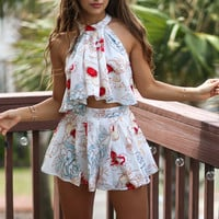 Chic Floral Printed Off Shoulder Top Blouse Bowtie Shorts Two-Piece Outfit Sets S/M/L/XL