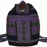 Baja Backpack Ethnic Woven Mexican Bag - Lavender Purple Black White - Medium