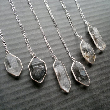 Phantom Quartz Necklace Phantom Quartz Pendant Silver Quartz Crystal Garden Quartz Jewelry Black Crystal Point Stone Jewelry Stone Necklace