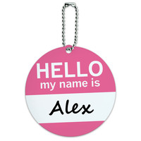 Alex Hello My Name Is Round ID Card Luggage Tag