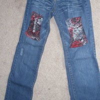 Patched Jeans Up Cycled Jeans eco friendly Recycled  corset lace jeans sz 3 juniors