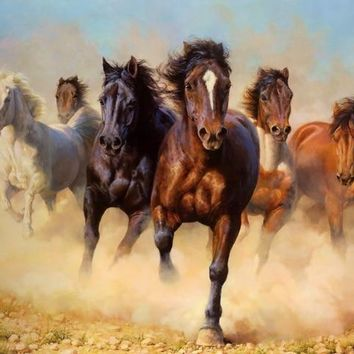 5D Diamond Painting Dusty Horse Stampede Kit
