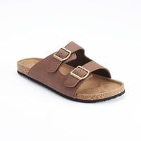 Vintage Stone Double-Buckle Slide Sandals - Men (Brown)