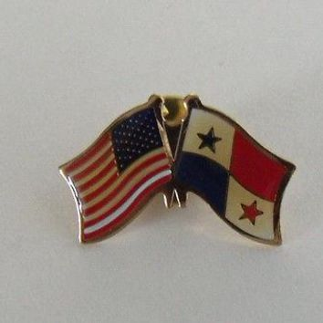 Bandera Panama Flag And USA Lapel Pin Crossed Friendship Pin