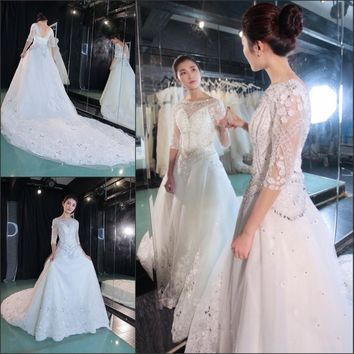 Cathedral Train A-Line Scoop Half of sleeve Luxuriously Beaded Crystal Lace Wedding Dress