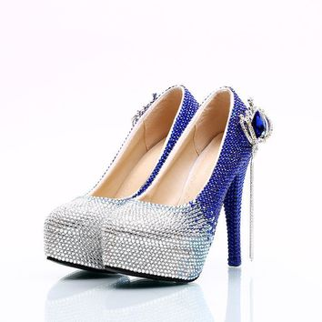 Gradient Crystal Rhinestone Platform Crystal Super Stiletto High Heels Wedding Shoes