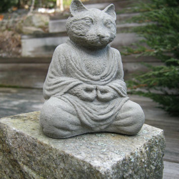 Meditating Kitty Statue