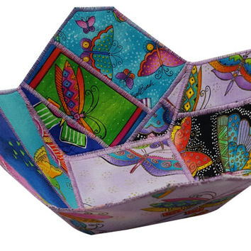 Reversible Fabric Bowl in Laurel Burch Butterfly Prints
