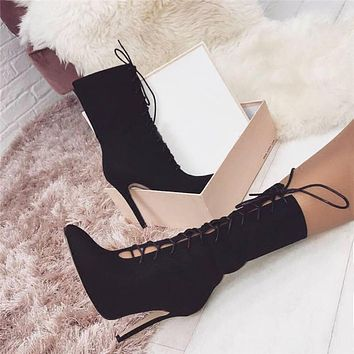 Women Fashion Personality Suede Bandage Pointed-toe Hollow Mid-calf  Boots Stiletto Heels Shoes