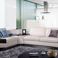 Divani Casa K8464 Modern Beige Italian Leather Sectional Sofa w/ Audio System & Cup Holders