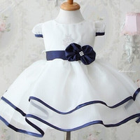 White Dress With Blue Bow