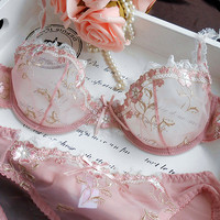 French brand female underwear bra set lingerie sexy bra embroidery ultra-thin Pink transparent lace bra for women and panty set