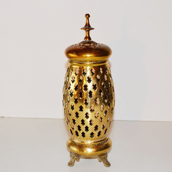 Vintage Brass Candle Holder Brass Incense Burner Mediterranean décor Brass Cylinder Incense Burner