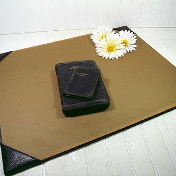 Antique Black Leather Extra Large Desk Blotter with Padded Corners - Vintage Library Office Accessory - Workspace Mat Ready For Repurposing
