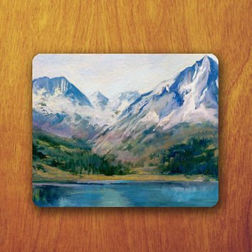 Mountain Paintng Mouse Pad Beautiful View Natural Mousepad Watercolor Office Desk Decoration Gift Teacher Gift