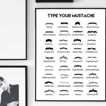 "Curly brackets mustaches Affiche ""Type your mustache"", Typography art, black and white Typography design, 24x36"", 50x70, A4 print"