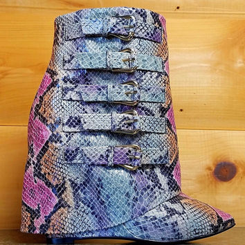 "High Life Multi Snake Fold-over Ankle Boot - 4"" Wedge Heel Shoe"