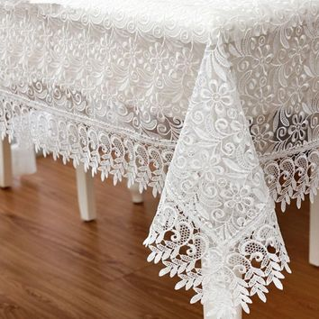 White Embroidered Lace Tablecloth 150*220cm Rectangle