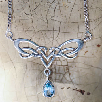 Sterling Arts and Crafts style Lavalier Necklace with Pear cut Aquamarine Drop