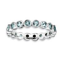 Sterling Silver Stackable Expressions Bezel Aquamarine Eternity Ring