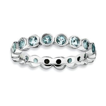 Sterling Silver Stackable Expressions Bezel Light Aquamarine Eternity Ring