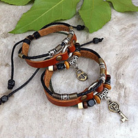 Handmade Couple Leather Bracelets-Heart and Key