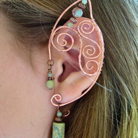 Pair of copper Elf Ear Cuffs with Jasper Accents Renaissance, Elven Ears, Costume Earrings Ear Wraps