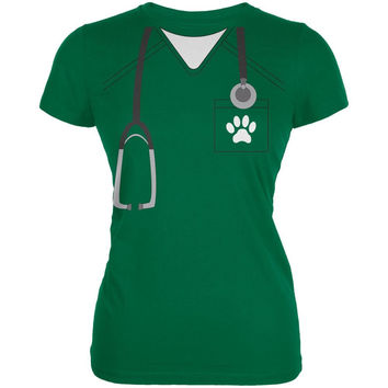 Halloween Vet Veterinarian Scrubs Costume Kelly Green Juniors Soft T-Shirt