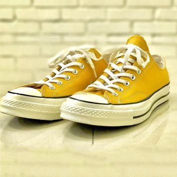 """""""Converse"""" Fashion Women Men Personality Low Help Canvas Flats Sneakers Sport Shoes Yellow I"""