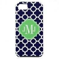 Quatrefoil Navy Blue and White Pattern Monogram iPhone 5 Cases from Zazzle.com