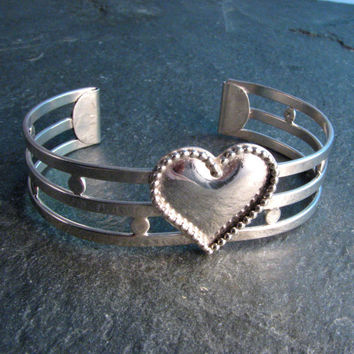 Sterling Silver Heart Cuff Bracelet - Metalwork Statement Bracelet - Multi Band Modern Vintage Design - Size Small