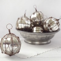 Rustic Wire Wrapped Mercury Glass Ornament