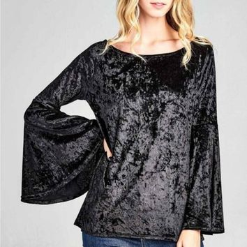 Vinnie Velvet Bell Sleeve Top