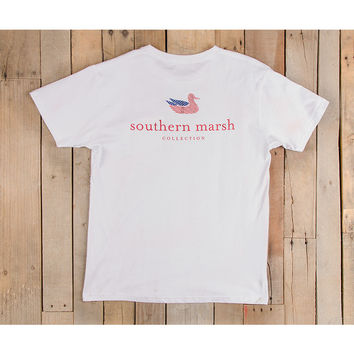 Southern Marsh Authentic Flag Tee- White