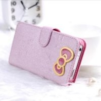 Slim 3D Hello Kitty Bowknot iphone cover case for iPhone 5 Protective Deluxe Book Style Folio Wallet Leather Case for iPhone 5 - Fit for Verizon, AT&T, Sprint, Rogers, Fido etc - Pink