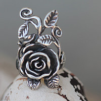 Sterling Silver Rose Vine Ring Romatic Hippie Boho Rings