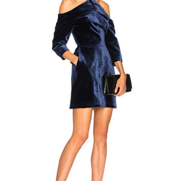 Roland Mouret Harlington Cold Shoulder Long Sleeve Mini Dress in Navy | FWRD