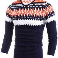 Geometric Knit V Neck Pullover Sweater