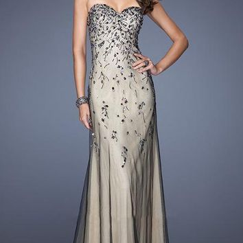 La Femme Gigi - 20080 Embellished Sweetheart Two-Toned Strapless Gown